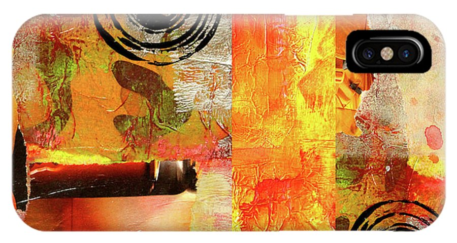 Large Orange Abstract IPhone X / XS Case featuring the mixed media Reconstruction Abstract by Nancy Merkle