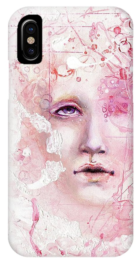 Design IPhone X Case featuring the painting R.e.d. 6 by Lauren Schwind