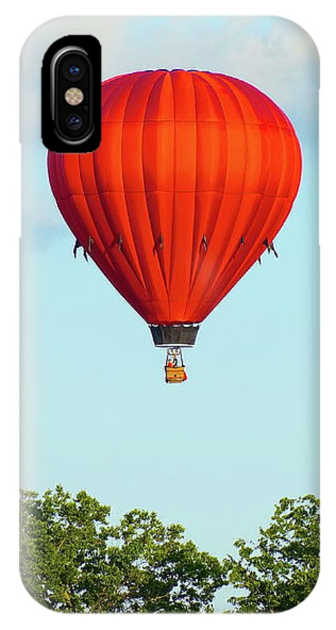 Balloons IPhone X Case featuring the photograph Red Above The Trees by Linda Cupps