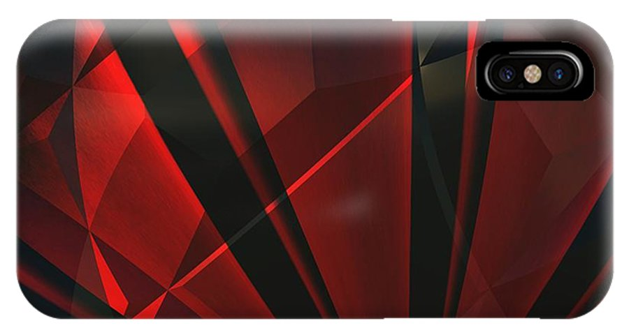 Abstractum IPhone X Case featuring the digital art Red Abstractum by Max Steinwald