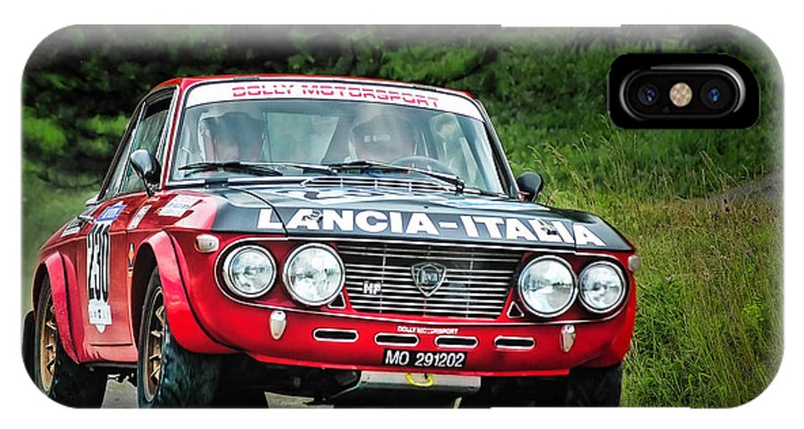 Car IPhone X / XS Case featuring the photograph Red And Black Lancia Fulvia by Alain De Maximy