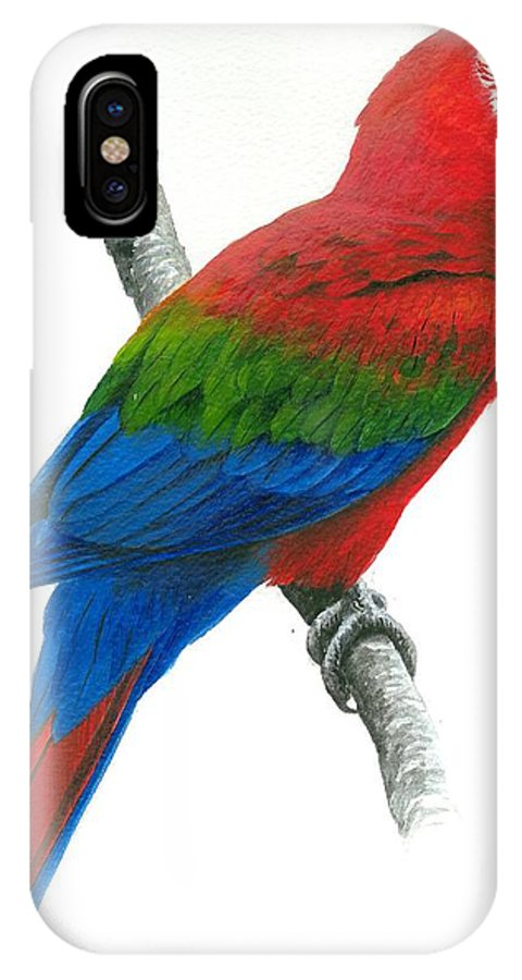 Chris Cox IPhone X Case featuring the painting Red and Green Macaw by Christopher Cox