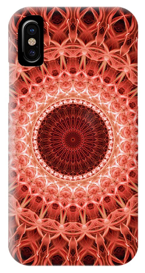 Mandala IPhone X Case featuring the digital art Red And Orange Mandala by Jaroslaw Blaminsky