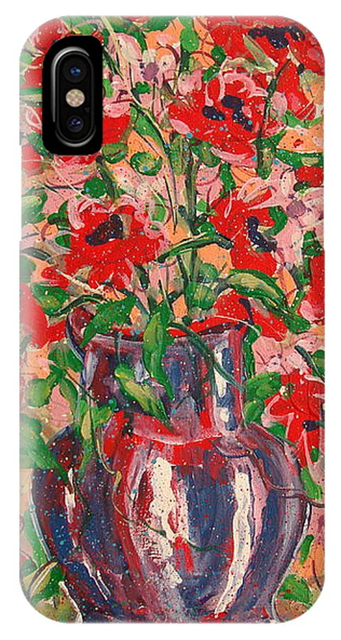 Flowers IPhone X Case featuring the painting Red And Pink Poppies. by Leonard Holland