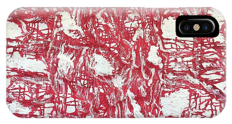 Abstract IPhone X Case featuring the painting Red And White by Moises Brador