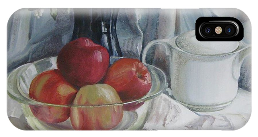 Still Life IPhone X Case featuring the painting Red Apples by Elena Oleniuc