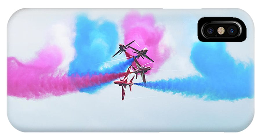Raf IPhone X Case featuring the photograph Red Arrows Break by Cathy Lovell