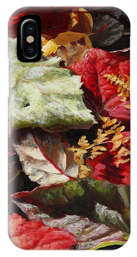 Realism IPhone X Case featuring the painting Red Autumn - Wasilla Leaves by Karen Whitworth