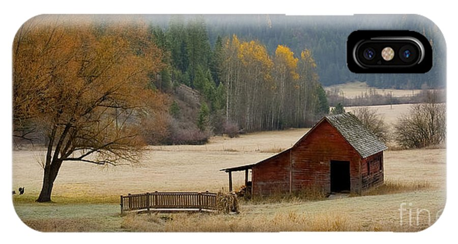 Hdr IPhone X Case featuring the photograph Red Barn In Autumn by Idaho Scenic Images Linda Lantzy