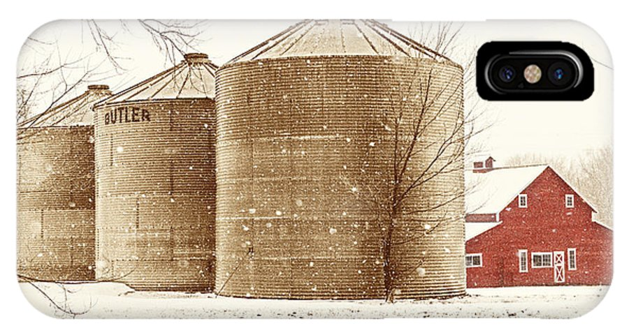 Americana IPhone X Case featuring the photograph Red Barn In Snow by Marilyn Hunt