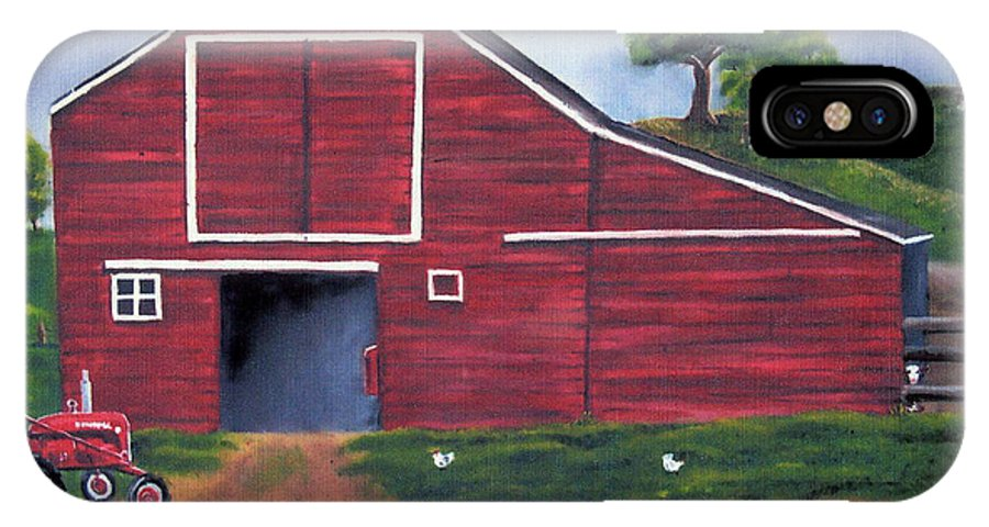 Red IPhone X Case featuring the painting Red Barn In South Dakota by Mendy Pedersen