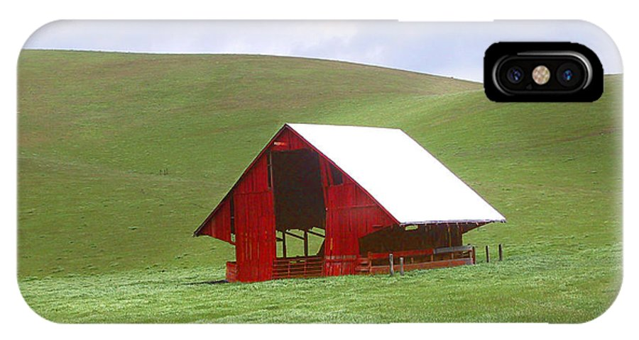 Landscape IPhone X Case featuring the photograph Red Barn In Spring by Karen W Meyer