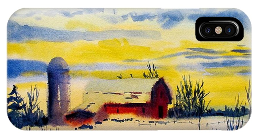 Red Barn IPhone X Case featuring the painting Red Barn Sunrise by Linda Emerson
