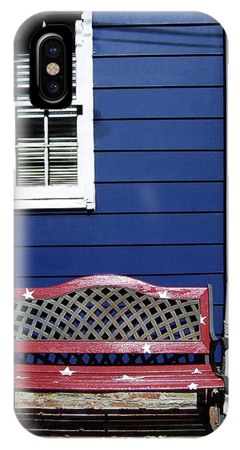 IPhone X Case featuring the photograph Red Bench Blue House by Iris Posner