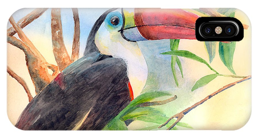 Toucan IPhone X Case featuring the painting Red-billed Toucan by Arline Wagner