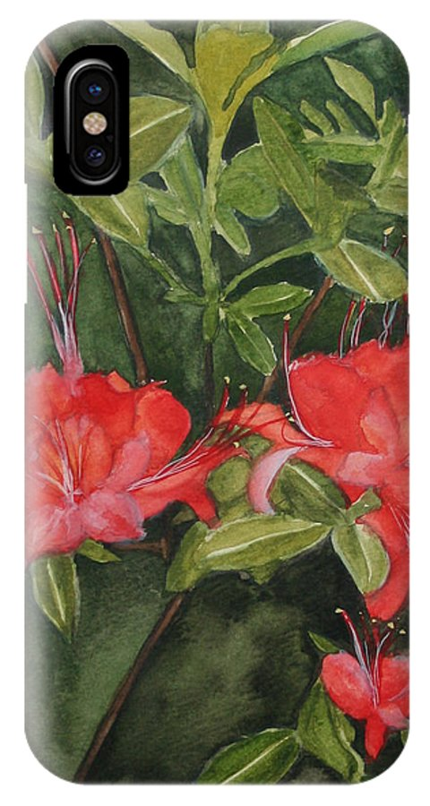 Flowers IPhone X Case featuring the painting Red Blooms on the Parkway by Jean Blackmer