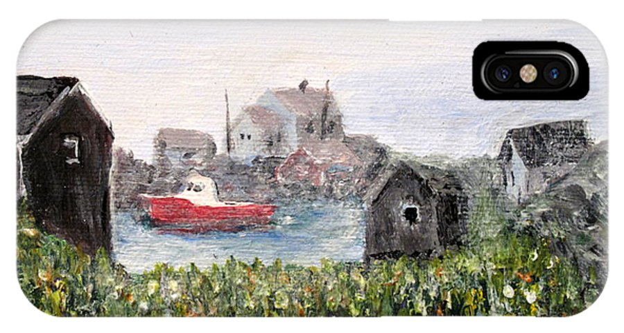 Red Boat IPhone X Case featuring the painting Red Boat In Peggys Cove Nova Scotia by Ian MacDonald