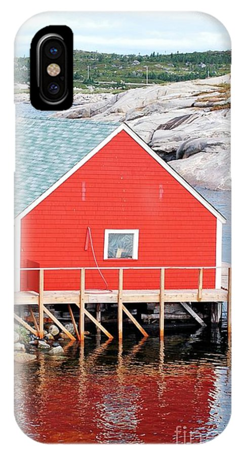 Red IPhone X Case featuring the photograph Red Boathouse by Kathleen Struckle