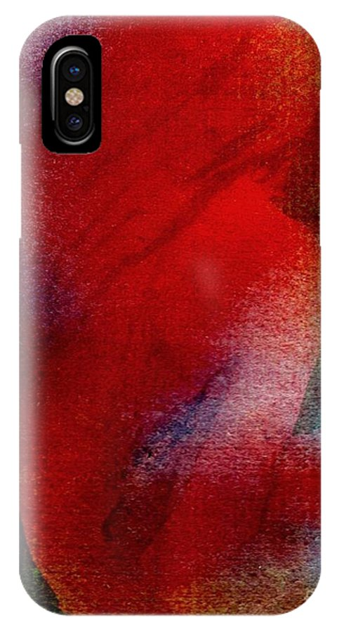 Nude IPhone X Case featuring the painting Red Boudoir by Susan Kubes