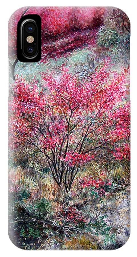 Landscape IPhone Case featuring the painting Red Bush by Valerie Meotti