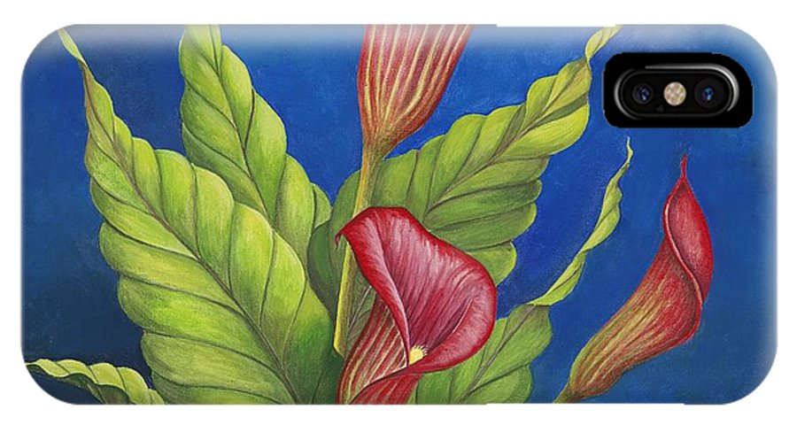 Red Calla Lillies On Blue Background IPhone X Case featuring the painting Red Calla Lillies by Carol Sabo