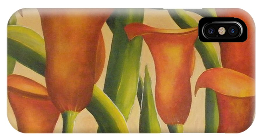 Calla IPhone X Case featuring the painting Red Callas by Jeanie Watson