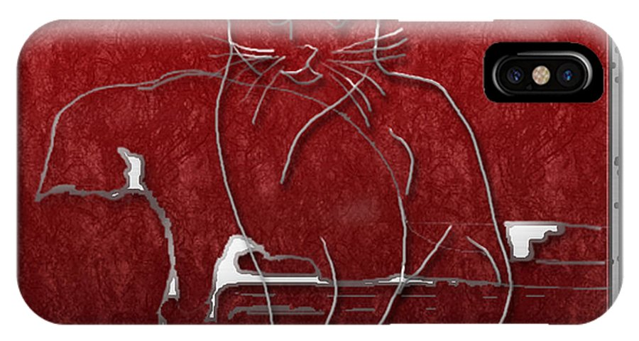 Cats IPhone X Case featuring the digital art Red Cats by Arline Wagner