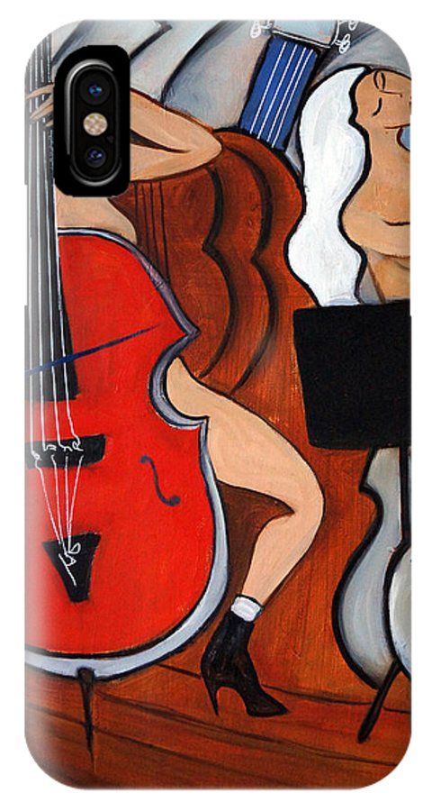 Cubic Abstract IPhone X Case featuring the painting Red Cello 2 by Valerie Vescovi