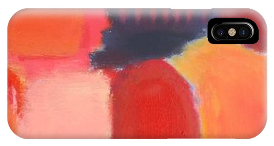 Abstract IPhone X Case featuring the painting Red Combination by Habib Ayat
