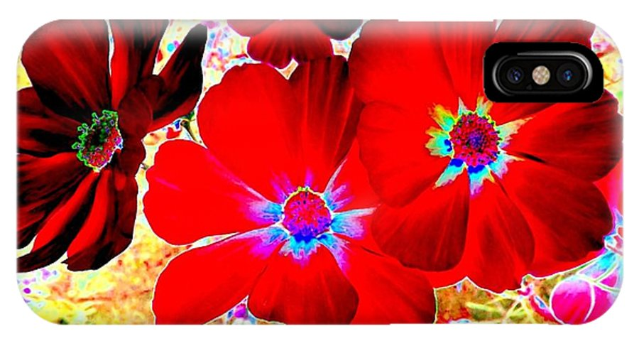 Red Cosmos IPhone X Case featuring the digital art Red Cosmos by Will Borden
