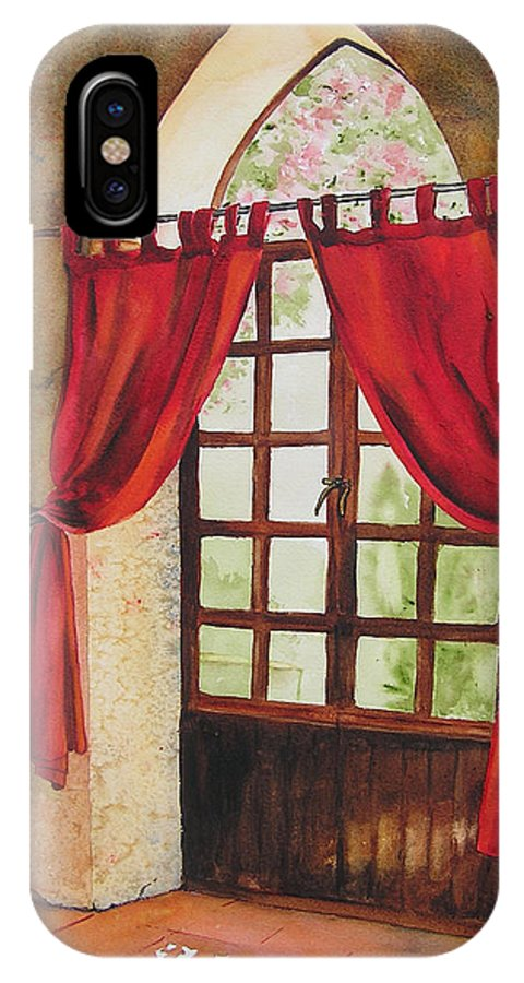 Curtain IPhone X Case featuring the painting Red Curtain by Karen Stark
