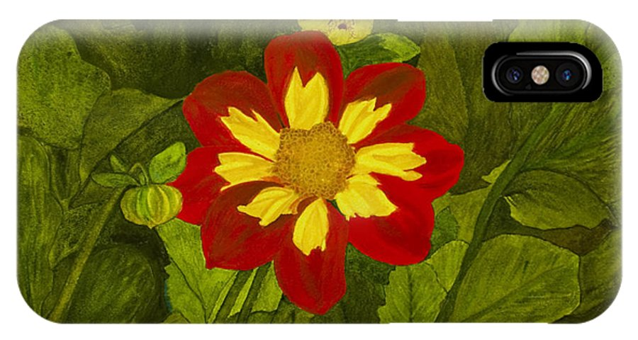 Red IPhone X Case featuring the painting Red Dahlia by Louise Magno