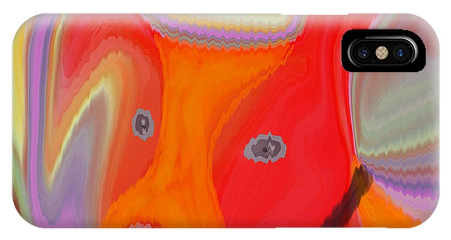 Abstract IPhone X Case featuring the digital art Red Dog by Ruth Palmer