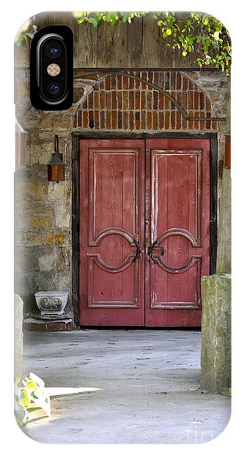 Red Door Photography IPhone X Case featuring the photograph Red Door by Penny Neimiller