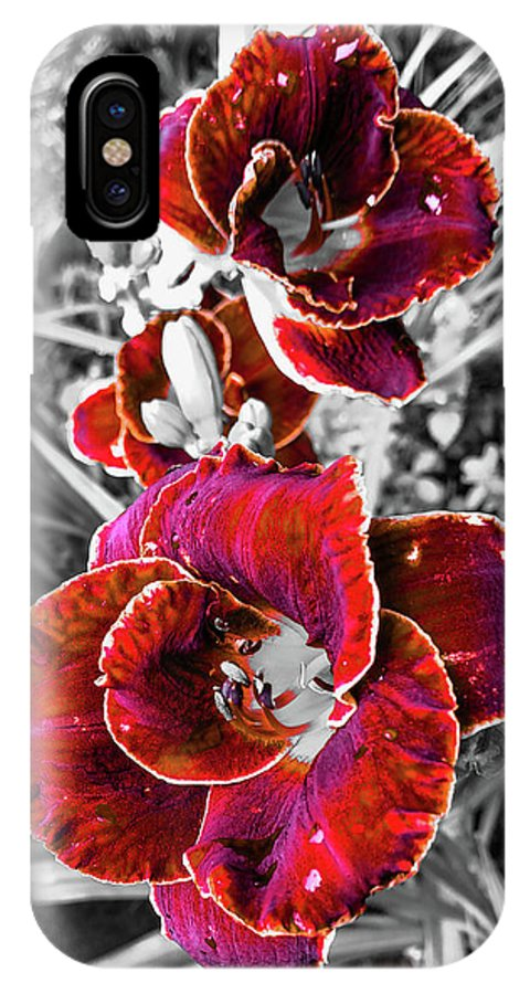 Red Double Lily IPhone X Case featuring the photograph Red Double Lily by Jennifer Kohler