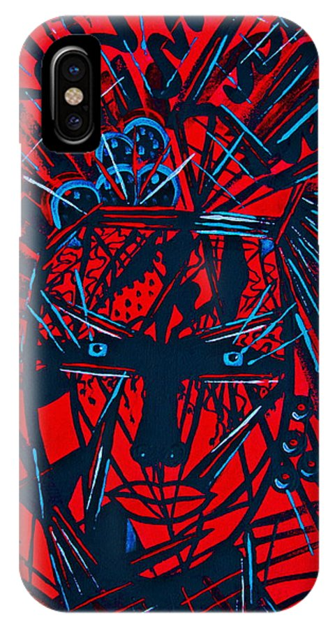 Abstract IPhone X Case featuring the painting Red Exotica by Natalie Holland