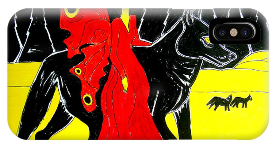Faerie IPhone X / XS Case featuring the painting Red Faerie And Black Wolf With Yellow Moon by Genevieve Esson
