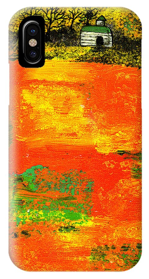 Rural IPhone X Case featuring the painting Red Fields by Wayne Potrafka