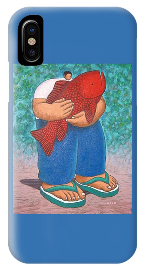 Acrylic IPhone X Case featuring the painting Red Fish And Blue Trousers. by Vico Vico