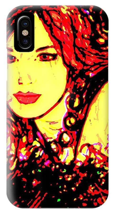 Woman IPhone Case featuring the painting Red Flirt by Natalie Holland