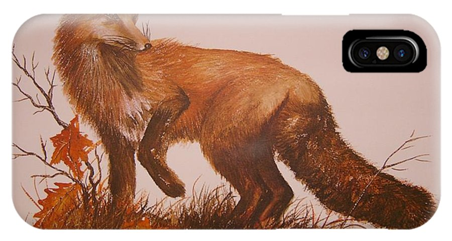 Nature IPhone X Case featuring the painting Red Fox by Ben Kiger