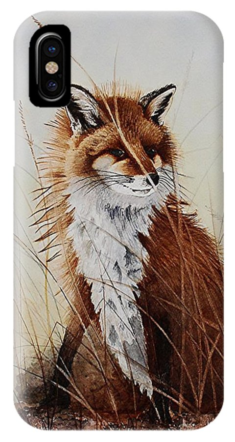 Wildlife IPhone X Case featuring the painting Red Fox Waiting On Breakfast by Jimmy Smith