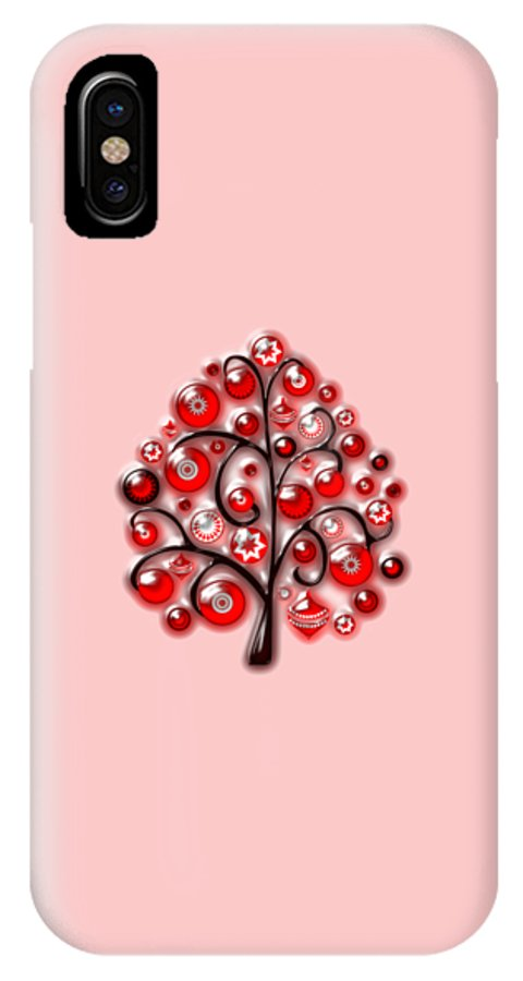 Interior IPhone X Case featuring the digital art Red Glass Ornaments by Anastasiya Malakhova