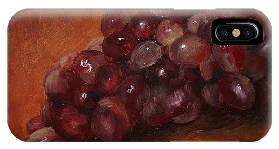Fruit IPhone X / XS Case featuring the painting Red Grapes by Barbara Andolsek