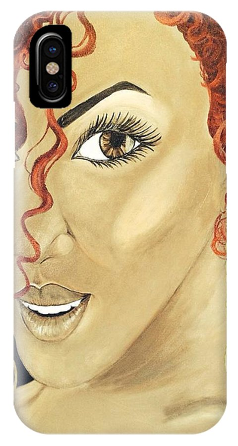 Woman IPhone X / XS Case featuring the painting Red Head by Carlaj Sanders