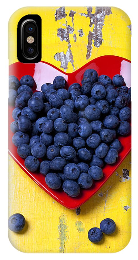 Red Heart Shaped Plate IPhone X Case featuring the photograph Red Heart Plate With Blueberries by Garry Gay