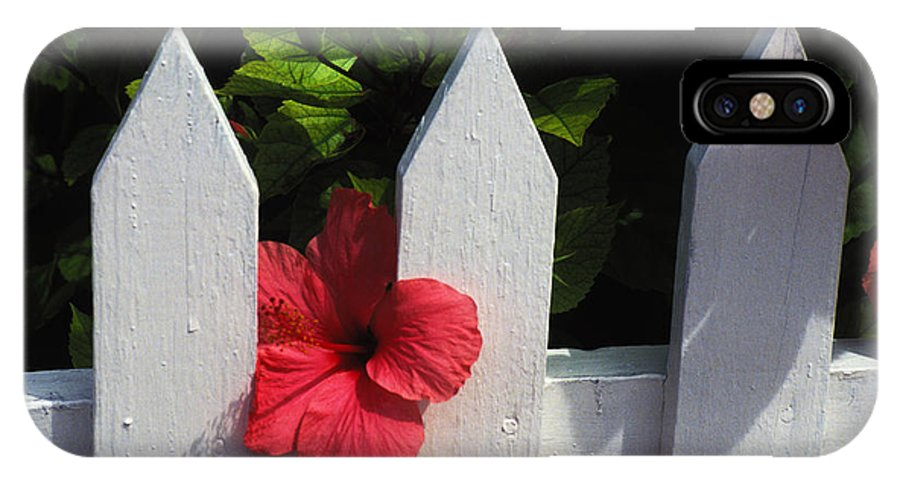White Pickett Fence IPhone X Case featuring the photograph Red Hibiscus And White Fence by Carl Purcell