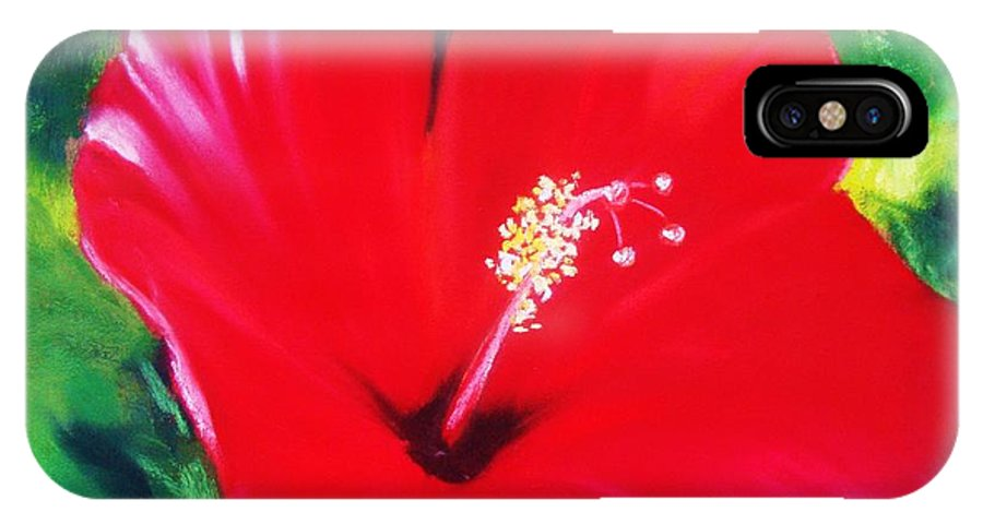 Bright Flower IPhone Case featuring the painting Red Hibiscus by Melinda Etzold