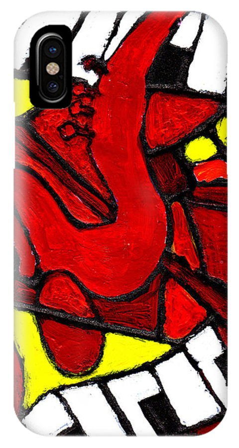 Jazz IPhone X Case featuring the painting Red Hot Jazz by Wayne Potrafka