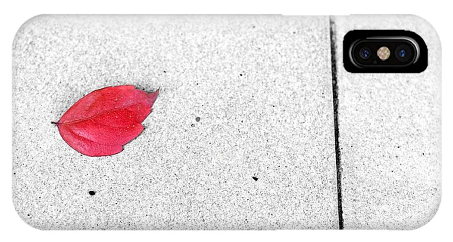 Red IPhone X Case featuring the photograph Red Leaf by Silvia Ganora